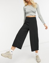 Asos Design DESIGN cropped black wide leg pants in jersey crepe