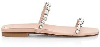 Stuart Weitzman Aleena Embellished Leather Slides