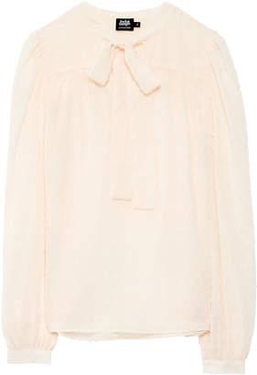 Twist & Tango - Deborah chiffon bow blouse in off white - 34 | polyester | off white - Off white