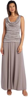 R & M Richards Petite R&M Richards Glitter Ruched Draped Jacquard Evening Dress