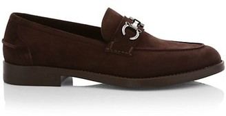 Salvatore Ferragamo Arlin Horsebit Logo Suede Loafers