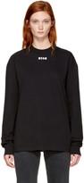 MSGM Black Long Sleeve Logo T-Shirt