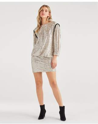 7 For All Mankind Long Sleeve Sequin Dress