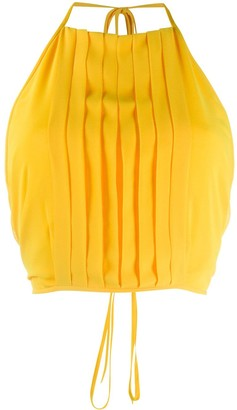 Irina Schrotter Pleated Bib Crop Top