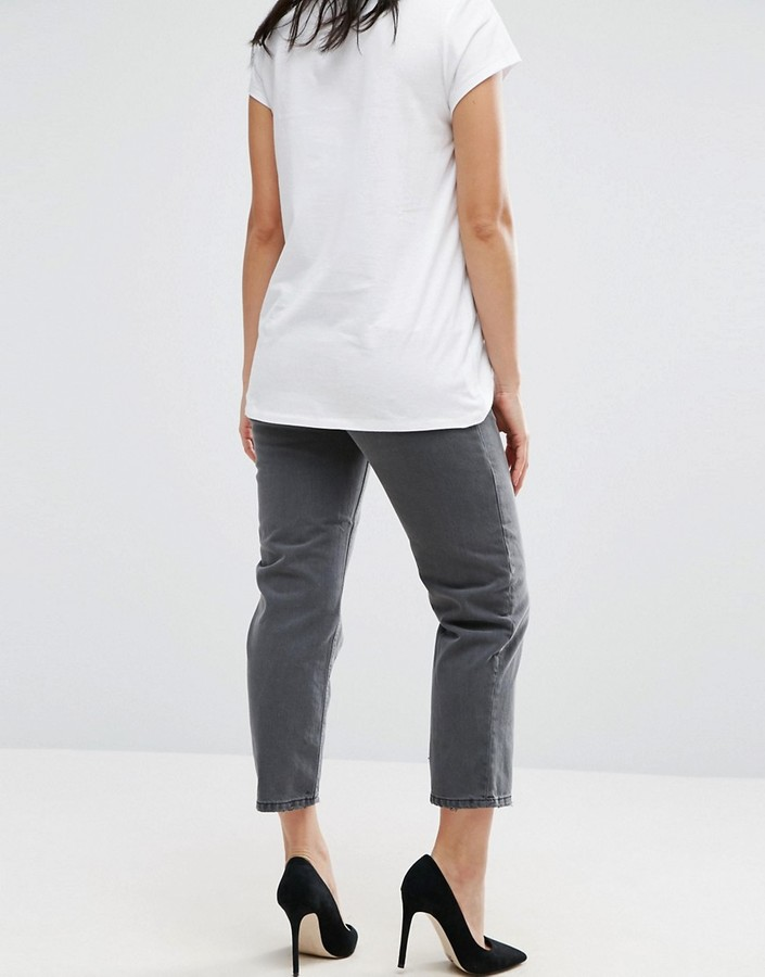 Asos Maddox Parallel Crop Jeans In Charcoal With Abrasion Hem