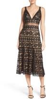 Tadashi Shoji Women's Deep V Lace Midi Dress