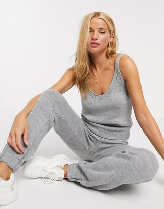 ASOS DESIGN co-ord knitted cami in grey marl