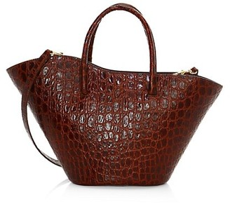 Little Liffner Small Tulip Croc-Embossed Leather Tote