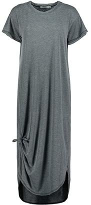 Mod-o-doc Burnout Wash Jersey Knotted Midi Short Sleeve T-Shirt Dress (Black) Women's Clothing
