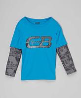 CB Sports Neon Turquoise & Black Logo Tee - Boys