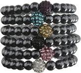 FINE JEWELRY Hematite & Crystal Set of 6 Stretch Bead Bracelets