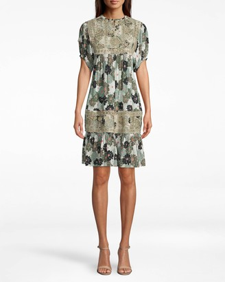 Nicole Miller Camo Delilah Silk Embroidered Dress