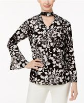 NY Collection Floral-Print Choker Blouse