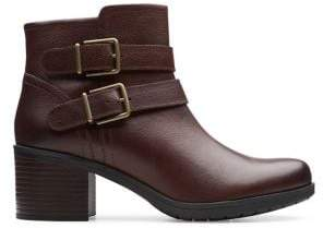 Clarks Hollis PearlBuckled Leather Booties