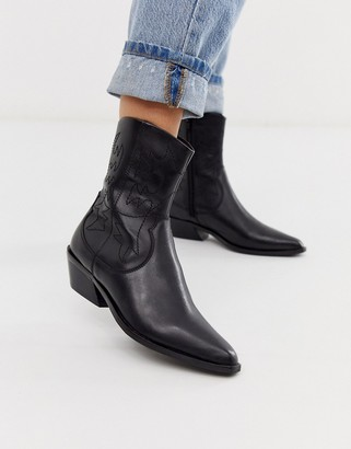Asos Design DESIGN Autumnal leather cowboy boots in black