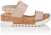 Barneys New York Women's Perforated Patent Leather Platform-Wedge Sandals