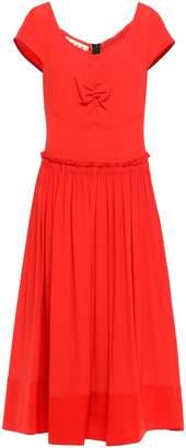 Marni Shirred Gathered Crepe De Chine Cotton-poplin Midi Dress