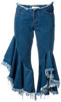Marques Almeida Marques'almeida - frayed ruffled jeans - women - Cotton - 10