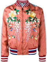 Gucci Orange Floral Embroidered bomber jacket