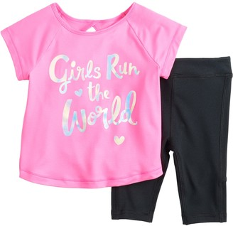 Baby Girl Jumping Beans Active Raglan Tee & Capri Leggings Set