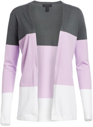 Saks Fifth Avenue COLLECTION Viscose Elite Open Front Colorblock Cardigan