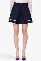 MICHAEL ANGEL Navy Wool Pleated Bennett Skirt