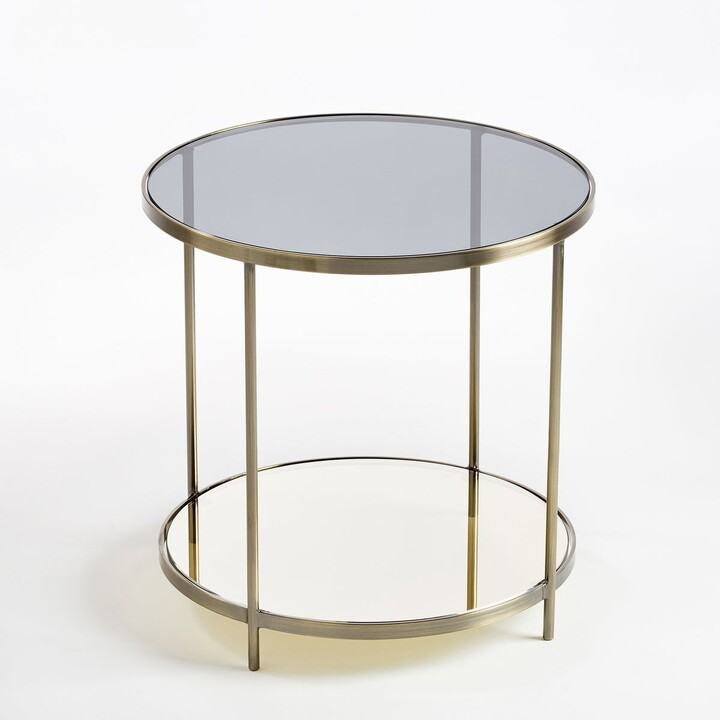 Am.pm. Ulupna Two-Tier Side Table in Brass & Glass
