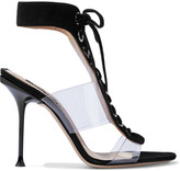 Thumbnail for your product : Sergio Rossi Sr Milano 105 Lace-up Suede And Pvc Sandals