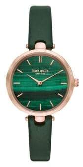 Kate Spade Holland Stainless Steel & Leather-Strap Watch