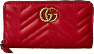 Gucci Gg Marmont Matelasse Leather Zip Around Wallet