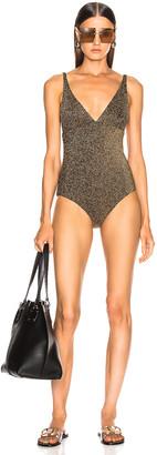 Alix Nyc ALIX NYC Surfside Glitter Swimsuit in Oro Glitter   FWRD