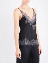 Carine Gilson Chantilly lace-trim silk-satin camisole