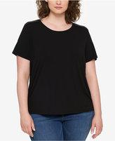 Tommy Hilfiger Plus Size Faux-Leather-Trim T-Shirt