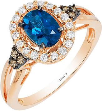 LeVian Le Vian 14K Rose Gold 1.09 Ct. Tw. Diamond & Topaz Ring