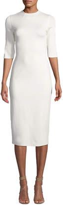 Alice + Olivia Delora Fitted Mock-Neck Midi Dress