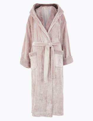 M&S CollectionMarks and Spencer Fleece Faux Fur Trim Long Dressing Gown