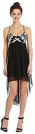 Teeze Me Sequin Babydoll Hi-Low Dress