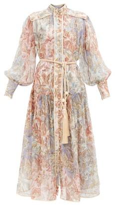 Zimmermann Lucky Jacobean-print Silk-georgette Dress - Blue Multi