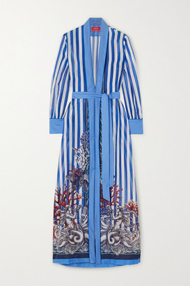 F.R.S For Restless Sleepers Tharos Belted Printed Cotton And Silk-blend Kaftan - Blue
