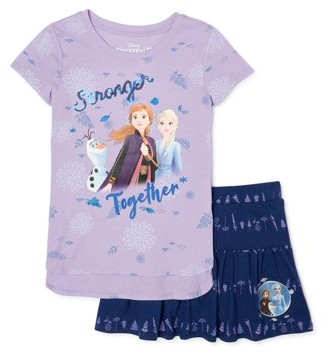 Disney Frozen 2 Girls Graphic Top and Logo Scooter, 2-Piece Outfit Set, Sizes 4-16