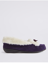M&S Collection Fur Moccasin Slippers