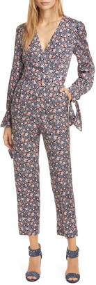 Rebecca Taylor Twilight Floral Long Sleeve Silk Blend Jumpsuit