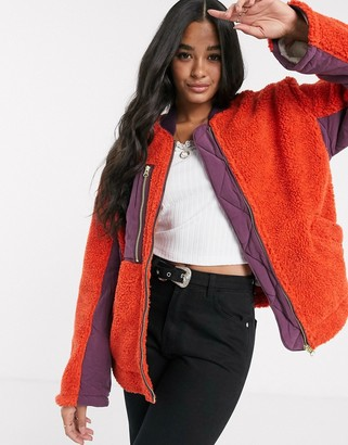 Free People Rivington sherpa style jacket with contrast utility pocket