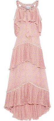 Antik Batik Romina Asymmetric Ruffled Floral-print Georgette Dress
