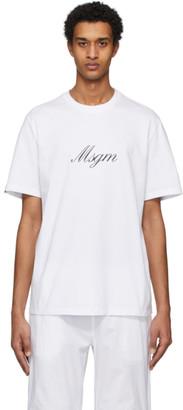 MSGM White Italic Logo T-Shirt