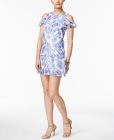 Jessica Howard Petite Printed Cold-Shoulder Dress