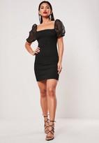 Missguided Shirred Organza Puff Sleeve Mini Dress