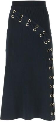 Alexander McQueen Eyelet Midi Skirt