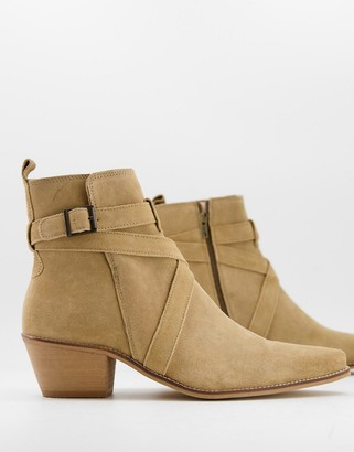 ASOS DESIGN cuban heel western chelsea boots with pointed toe in stone suede with strap detail