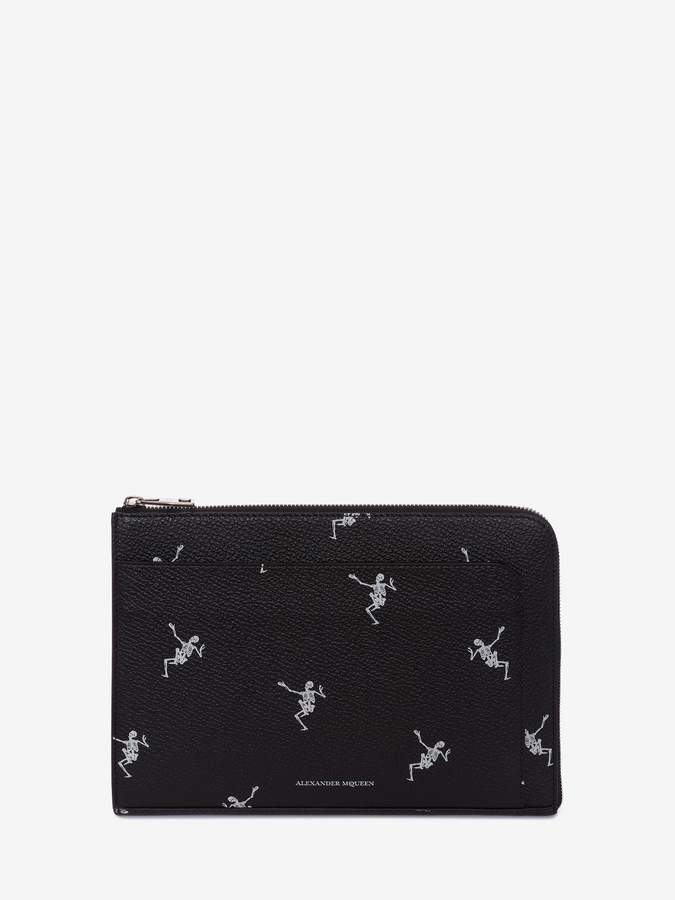 "Alexander McQueen Dancing Skeleton"" Leather Document Holder"
